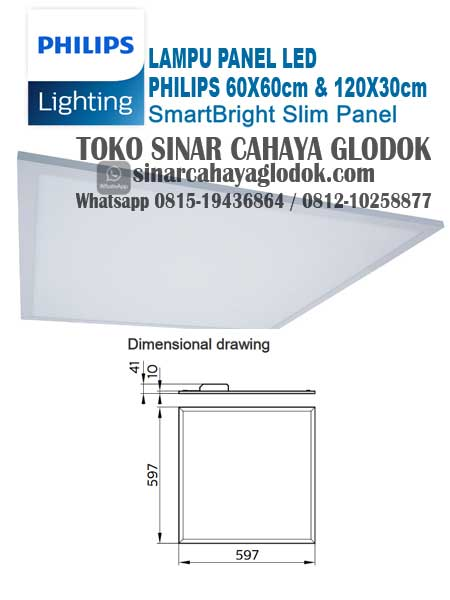 lampu panel led 60x60 cm merk philips