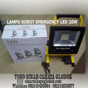 lampu sorot led emergency portable 20 watt