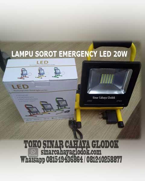 lampu sorot led emergency portable 20 watt