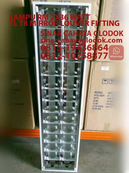 lampu rm 2x36 watt mirror louver