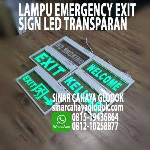 lampu emergency exit transparant
